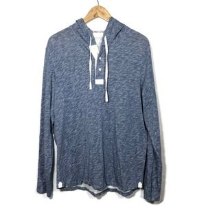 Vince. Light Heather Blue Hooded Henley Sweater